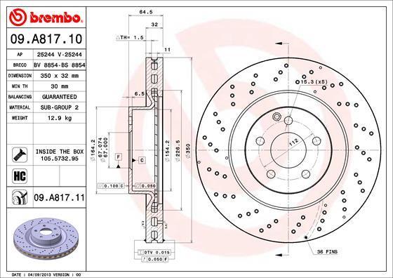 Диск тормозной Brembo 09A8171109A81711