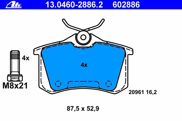 Колодки тормозные дисковые Ate 1304602886213046028862