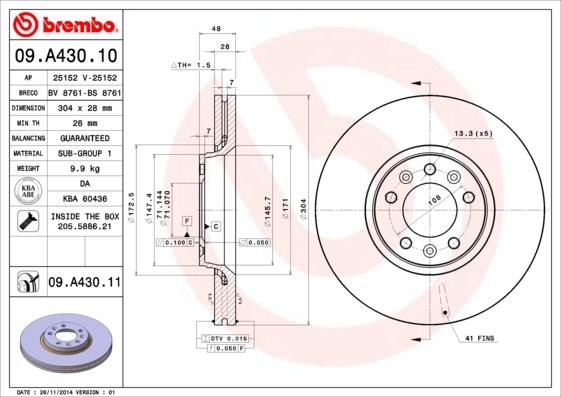 Диск тормозной передний Brembo 09A4301009A43010