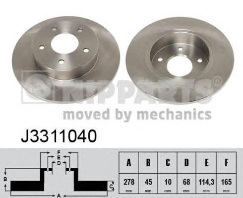 Диск тормозной задний Nipparts J3311040 комплект 2 штJ3311040