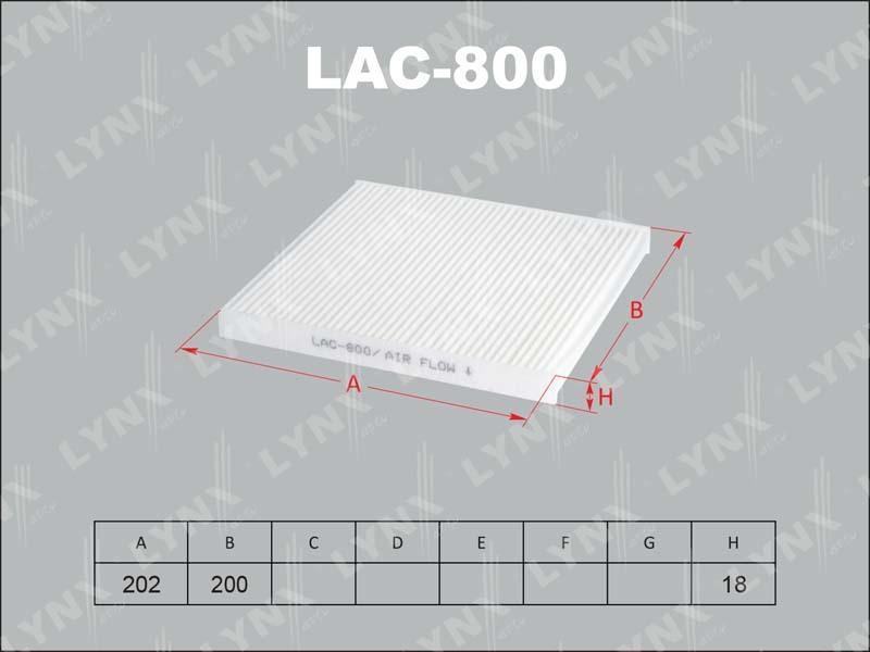 Фильтр салона Lynx LAC800 фильтр воздушный lynx la113