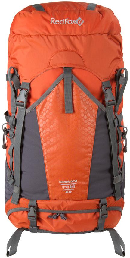 Рюкзак Red Fox Nanda Devi, цвет: кирпичный, 45 л1043466Рюкзак nanda Devi 45 – женская версия классического рюкзака для горных походов.- назначение: горные походы, альпинизм- подвесная система IBC- съемный поясной ремень анатомической формы- фурнитура из высокопрочного пластика- два независимых отделения основного объема- крепления для ледоруба и трекинговых палок- грудной фиксатор лямок и боковые стяжки- стяжки для крепления дополнительного груза к дну рюкзака- два эластичных боковых кармана в нижней части рюкзака- карман с эластичными вставками на фронтальной части рюкзака- съемный клапан с карманами- возможность размещения питьевой системы- материал: N/210D HD OX- каркас: алюминиевые пластины- объем, л: 45- вес, г: 1850Что взять с собой в поход?. Статья OZON Гид