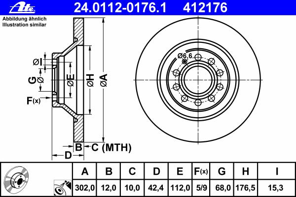 Диск тормозной Ate 24011201761 комплект 2 шт24011201761