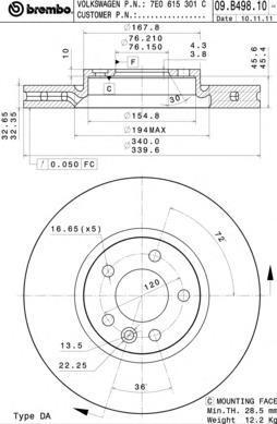 Диск тормозной передний Brembo 09B4981009B49810