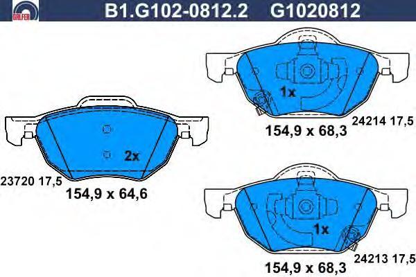 Колодки тормозные дисковые Galfer B1G10208122B1G10208122