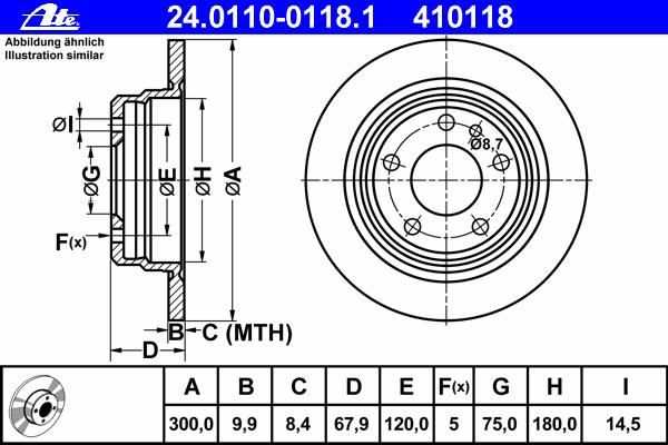 Диск тормозной Ate 24011001181 комплект 2 шт24011001181