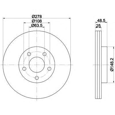 Диск тормозной Pro BEHR-HELLA 8DD355112171 комплект 2 шт8DD355112171