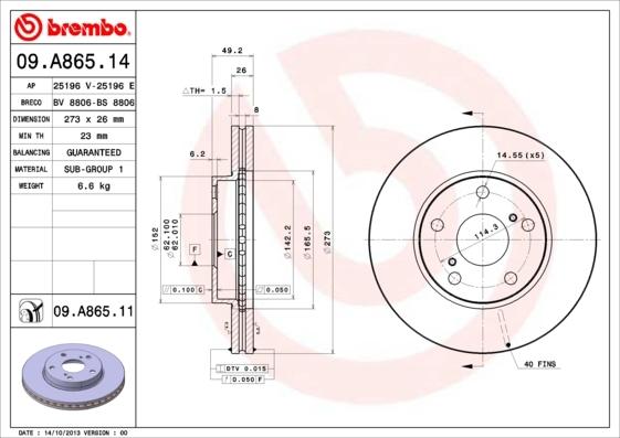 Диск тормозной передний Brembo 09A86514 комплект 2 шт09A86514