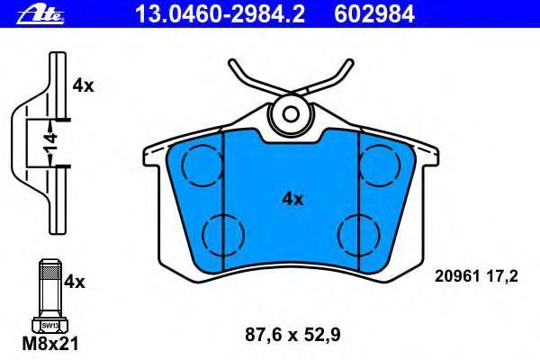 Колодки тормозные дисковые Ate 1304602984213046029842