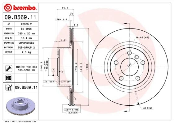 Диск тормозной Brembo 09B5691109B56911