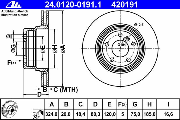 Диск тормозной Ate 24012001911 комплект 2 шт24012001911
