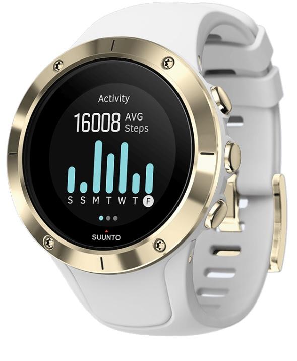 Спортивные часы Suunto Spartan Trainer Wrist Hr Gold, цвет: белыйSS023426000Спортивные часы Suunto Spartan Trainer Wrist Hr Gold - это отлично сидящие GPS-часы с превосходным дизайном, готовые к тренировкам по вашему велению: в плавании, в спортзале, на велосипеде или на пробежке. Оснащенные удобным запястным пульсометром часы Trainer отслеживают вашу активность и ведут подсчет калорий и шагов круглосуточно. Разнообразные спортивные и туристические режимы делают Spartan Trainer естественным напарником для выхода за границы, созданные городом, и границы ваших возможностей. Особенности: Срок работы от батареи до 10 ч с наивысшей точностью GPS (до 30 ч в экономном режиме) 14 дней в режиме показа времениУдобное измерение пульса на запястьеКомпактный размер и оптимальный стиль и для спортивной, и для повседневной одеждыВодонепроницаемость до 50 мВстроенные виды спорта: плавание, бег, велосипед, спортзал, турпоход и так далее. Скорость, темп и расстояние по данным GPSНастраиваемые спортивные режимы с графиками и автоматическими этапамиСоздание интервалов на часах и следование указаниям на экранеВозвращайтесь домой по навигационной цепочке пройденного путиНавигация по маршруту с интересующими пунктами (POI) и расчетным временем прибытия (ETA) Отслеживание активности и мобильные уведомления: Круглосуточное отслеживание количества шагов, калорий и снаОтслеживайте показатель пульса в покое, чтобы знать, когда вы в стрессе или перетренированыНастраивайте свои часы с индивидуальными экранамиПолучайте уведомления о звонках, сообщениях и событиях календаря на часах.