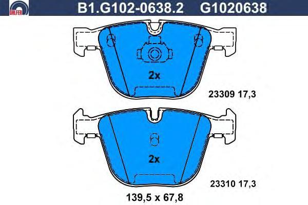 Колодки тормозные дисковые Galfer B1G10206382B1G10206382