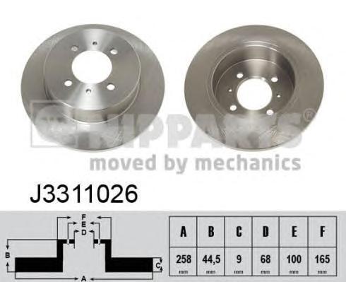 Nipparts Диск тормозной задний. J3311026J3311026