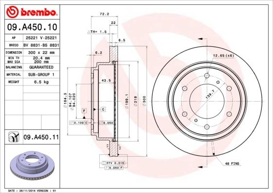 Диск тормозной задний вентилируемый Brembo 09A45010 комплект 2 шт09A45010