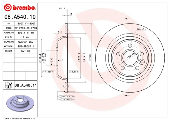 Диск тормозной Brembo. 08.A540.1108.A540.11