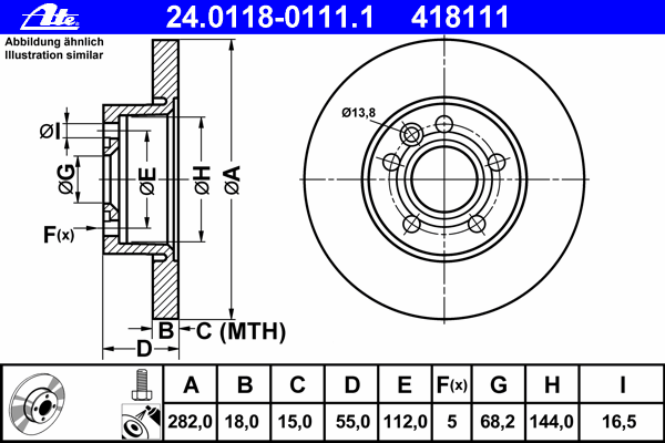 Диск тормозной Ate 24011801111 комплект 2 шт24011801111