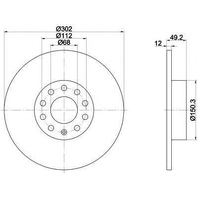 Диск тормозной Pro BEHR-HELLA 8DD3551111818DD355111181