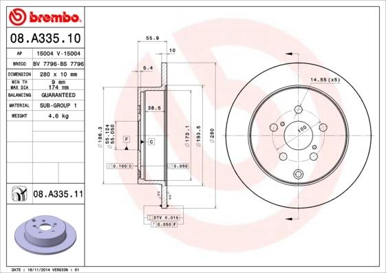 Диск тормозной задний Brembo 08A33510 комплект 2 шт08A33510