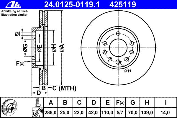 Диск тормозной Ate 24012501191 комплект 2 шт24012501191