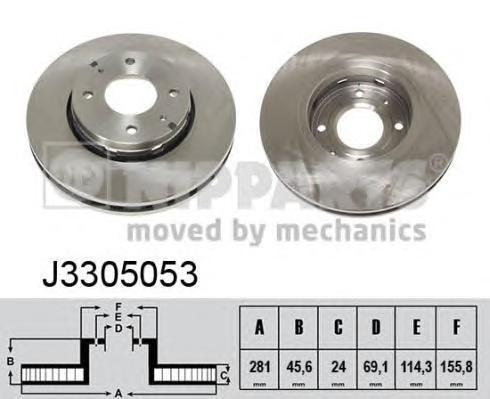 Диск тормозной передний вентилируемый Nipparts J3305053 комплект 2 штJ3305053