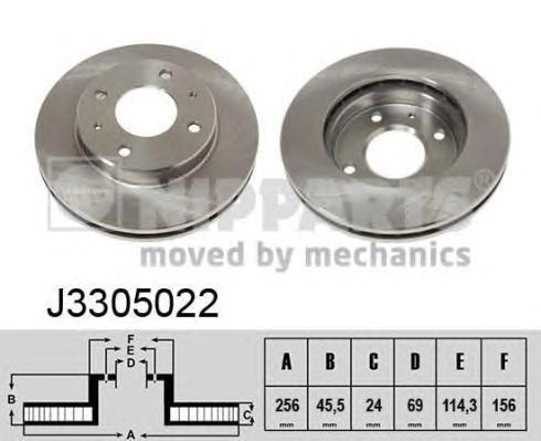 Диск тормозной передний вентилируемый Nipparts J3305022 комплект 2 штJ3305022