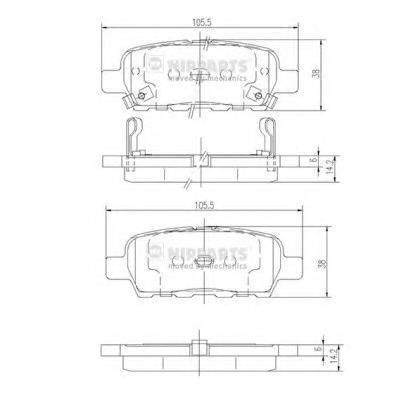 Колодки тормозные задние Nipparts J3611044J3611044