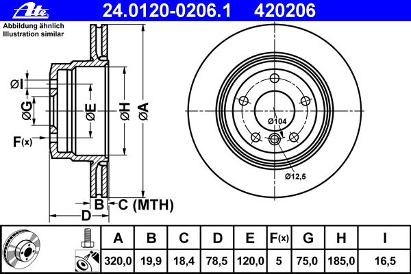 Диск тормозной Ate 2401200206124012002061