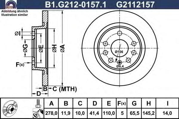 Диск тормозной Galfer B1G21201571B1G21201571