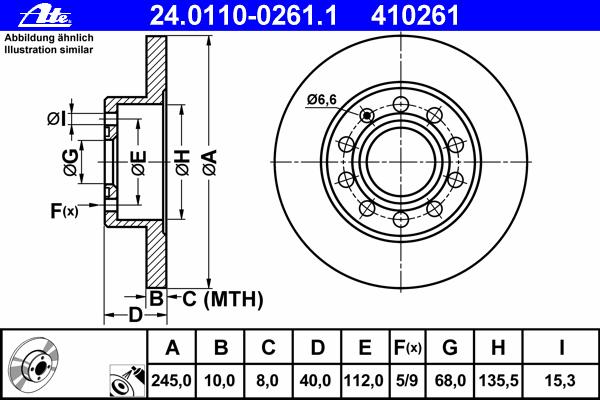 Диск тормозной Ate 24011002611 комплект 2 шт24011002611