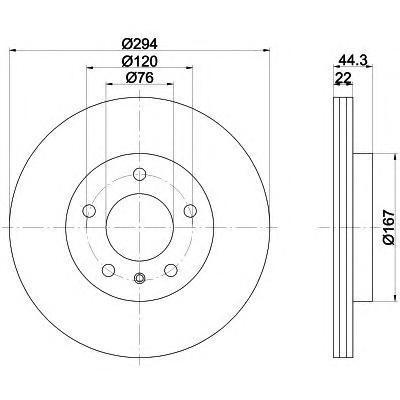 Диск тормозной Pro BEHR-HELLA 8DD355109701 комплект 2 шт8DD355109701