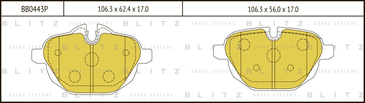 Колодки тормозные дисковые BLITZ автотовары BB0443PBB0443P