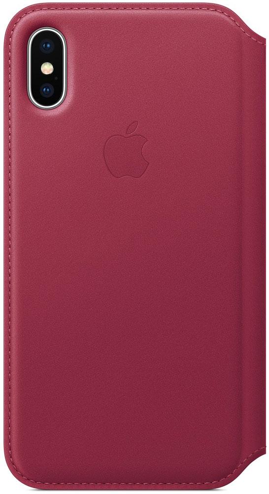 Apple Leather Folio, Berry чехол для iPhone XMQRX2ZM/AКожаный чехол, изготовленный из специально обработанной кожи европейского производства, приятен на ощупь, роскошно выглядит, точно повторяет контуры iPhone X и надёжно его защищает. Когда чехол закрыт, iPhone X находится в режиме сна. А если его открыть, телефон сразу вернётся в активное состояние. Мягкая подкладка из микрофибры обеспечивает дополнительную защиту вашего iPhone, а в специальном отделении удобно хранить чеки, купюры и банковские карты. Чехол не придётся снимать даже во время беспроводной зарядки.