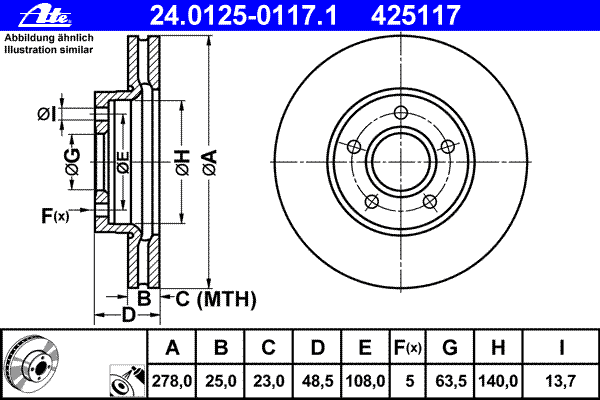 Диск тормозной Ate 24012501171 комплект 2 шт