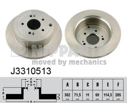 Диск тормозной задний Nipparts J3310513J3310513