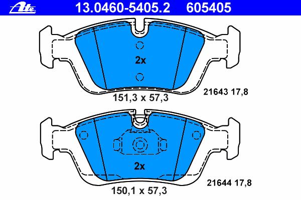 Колодки тормозные дисковые Ate 1304605405213046054052