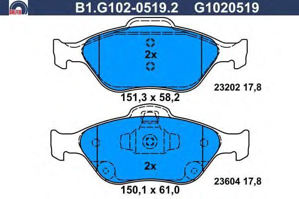 Колодки тормозные дисковые Galfer B1G10205192B1G10205192