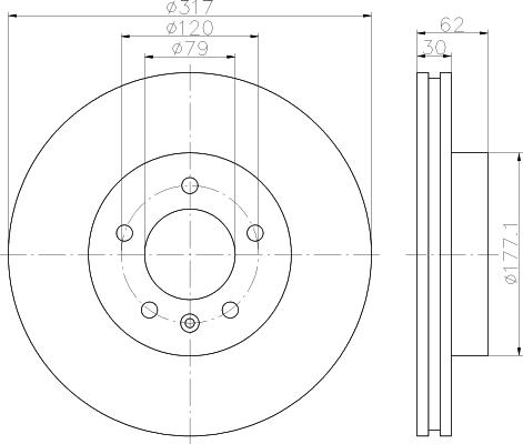 Диск тормозной передний вентилируемый317x30 5отв Textar 9213450592134505