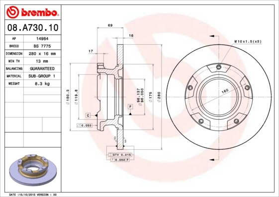 Диск тормозной задний Brembo 08A73010 комплект 2 шт08A73010