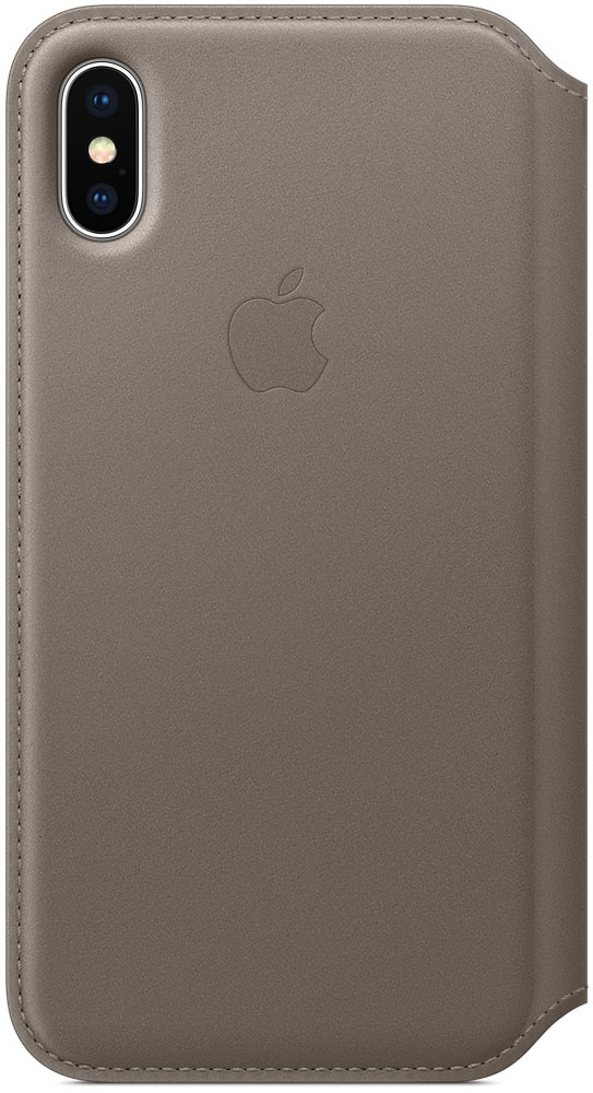 Apple Leather Folio, Taupe чехол для iPhone X - Чехлы