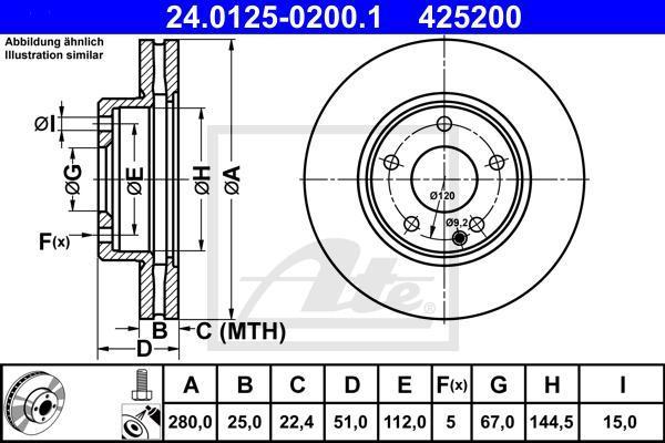 Диск тормозной передний вентелируемый Ate 2401250200124012502001