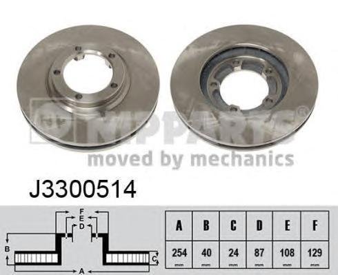 Диск тормозной передний вентилируемый Nipparts J3300514 комплект 2 штJ3300514