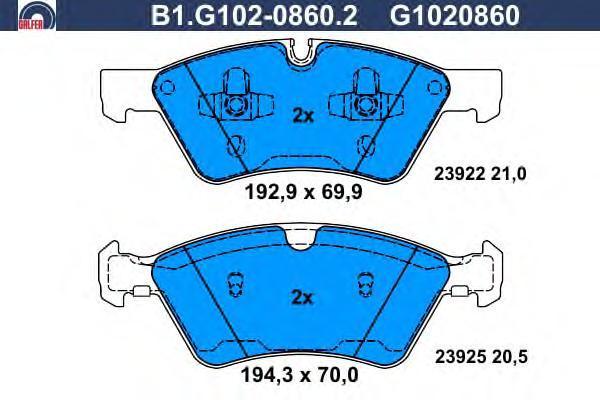 Колодки тормозные дисковые Galfer B1G10208602B1G10208602