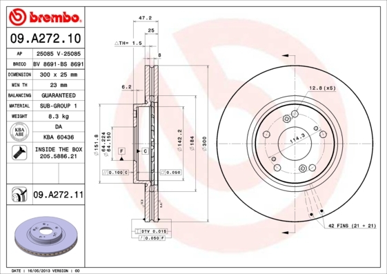 Диск тормозной Brembo 09A2721109A27211
