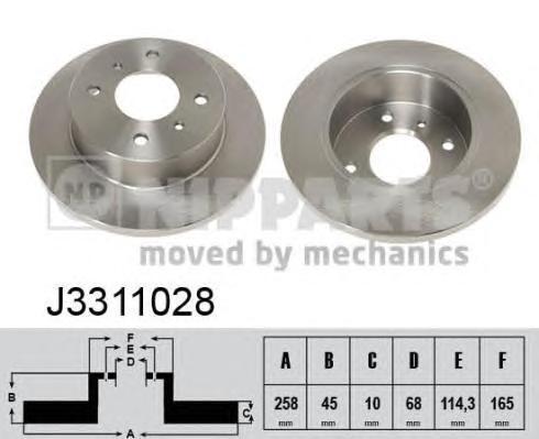Диск тормозной задний Nipparts J3311028 комплект 2 штJ3311028
