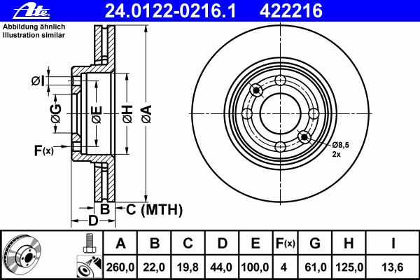 Диск тормозной Ate 24012202161 комплект 2 шт24012202161