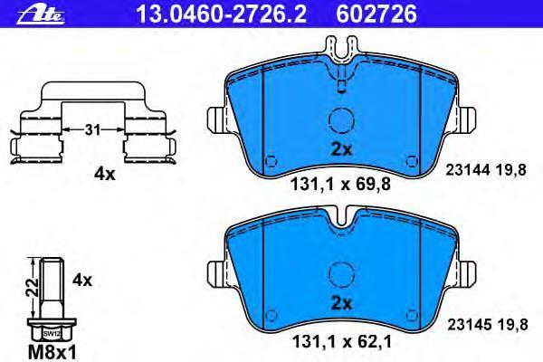 Колодки тормозные дисковые Ate 1304602726213046027262