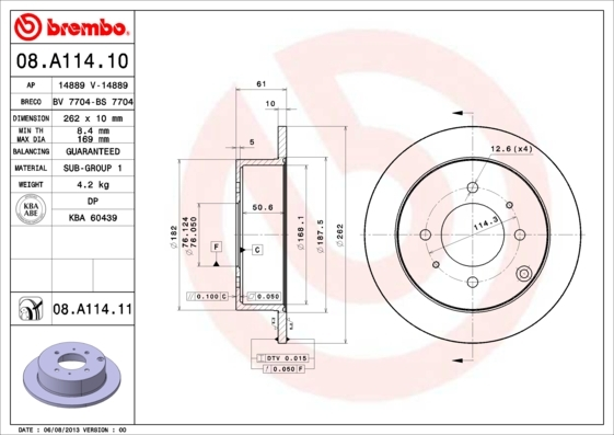 Диск тормозной Brembo 08A1141008A11410