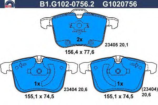 Колодки тормозные Galfer B1G10207562B1G10207562