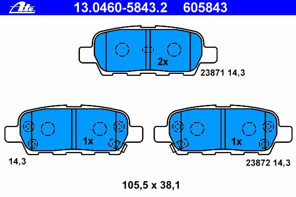 Колодки тормозные дисковые Ate 1304605843213046058432